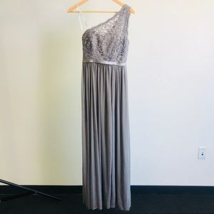David's Bridal Dresses - David's Bridal long one shoulder dress.
